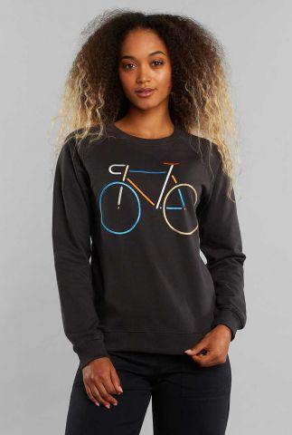 zwarte sweater met geborduurde fiets 18836 ystad raglan color bike