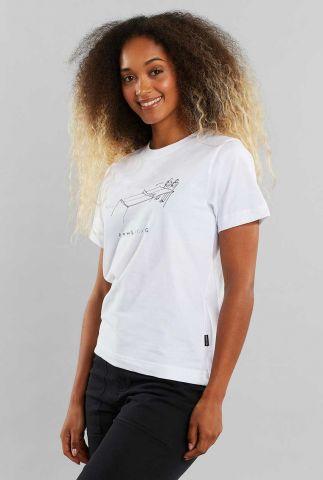 wit t-shirt van bio katoen met opdruk 18866 mysen pong pong