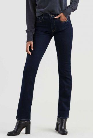 donkere high waist jeans met lichte stiksels 18883-0015