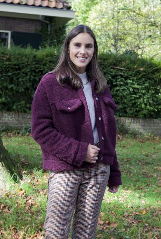 bordeaux rode korte teddy jas met drukknopen pixley jacket 1931109