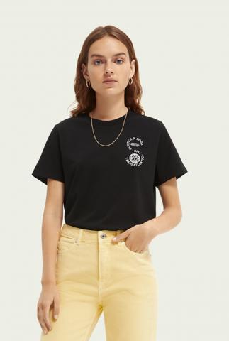 zwart biologisch katoenen t-shirt met tekst opdruk 161708