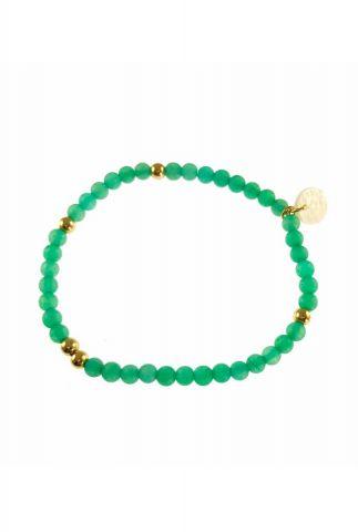 elastische armband met groene en gouden kralen 2001A32