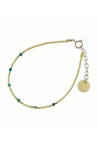 zilveren armband met witte, groene en zilveren kralen 2001A48