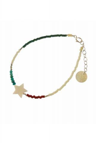 zilveren armband met gekleurde kralen en ster 2001A49