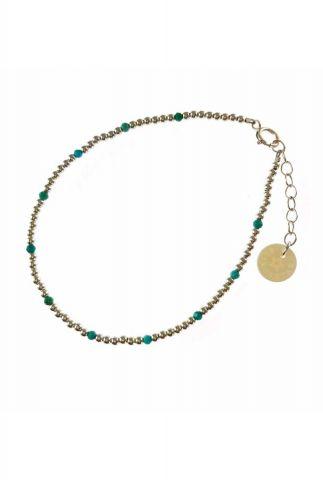 zilveren armband met zilveren en turquoise kralen 2001A50