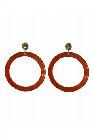 donker oranje oorbellen 3,5cm 2001B04