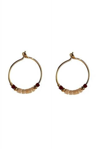gouden oorbellen met roze en gouden kralen 2001B08