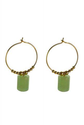 gouden oorbellen met groene hanger 2001B15