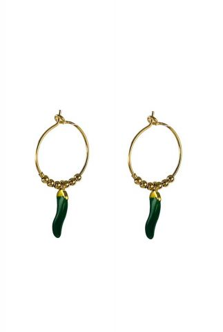 gouden oorbellen met donker groene peper hanger 2001B19