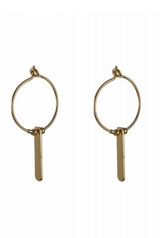 gouden oorbellen met rechthoekige hanger 2001B37
