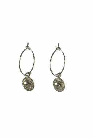 zilveren oorbellen met oog hanger 2001B72