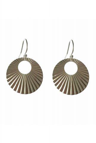 zilveren oorbel met open zon hanger 2001B79