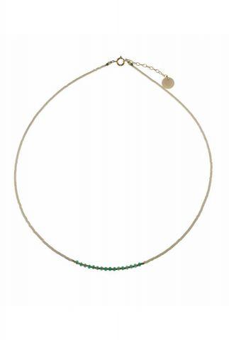 gouden ketting met witte en turquoise kralen 2001K04