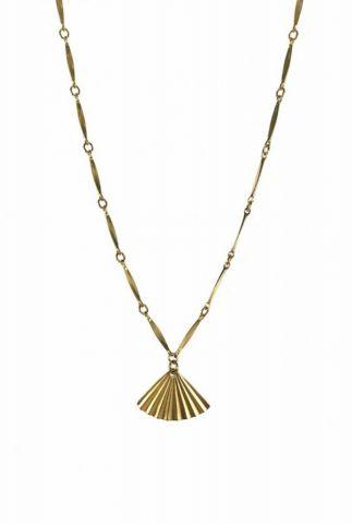 gouden ketting met waaier hanger 2001K08