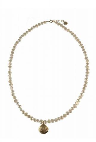 parelmoer ketting met gouden schelp hanger 2001K13