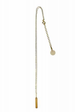 gouden ketting met rechthoekige gouden hanger 2001K15