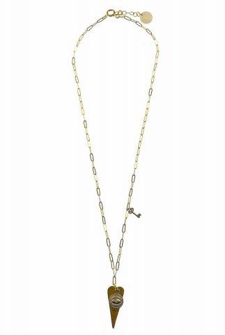 gouden schakel ketting met hart en sleutel hanger 2001K20