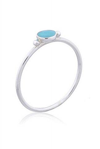 zilveren ring met turquoise steen maat L 2001R09