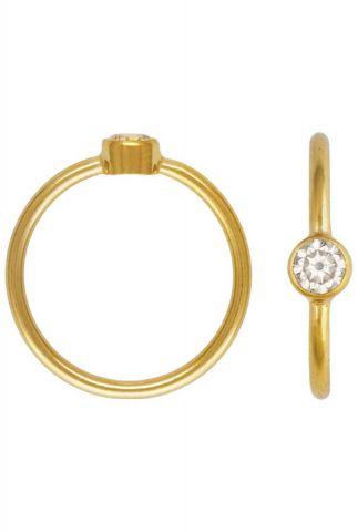 gouden ring met witte zirkonia steen maat L 2001R39