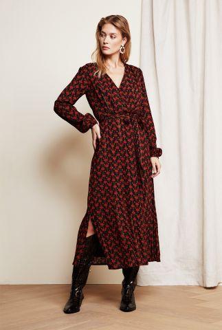 zwarte maxi jurk met rode print en lurex detail isabella isa dress