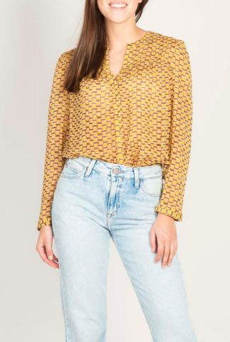 gevlekte blouse met een rechte pasvorm en v-halslijn 20111187