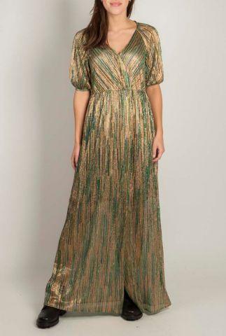 groen gestreepte maxi glitter jurk 20121181