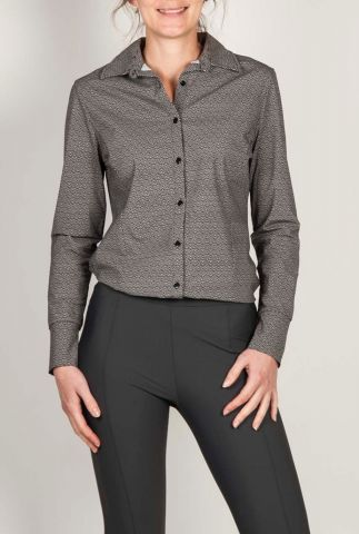 zwarte blouse met grafische print 201helene