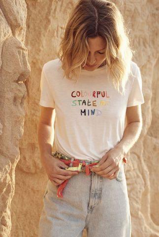 wit t-shirt met geborduurde tekst colourful state sp6467