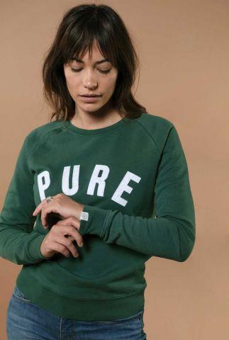 zachte donker groene sweater met tekst opdruk ruby 202022