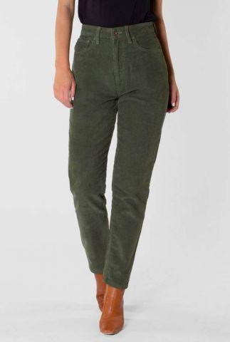 donker groene corduroy mom fit broek nora 20-49