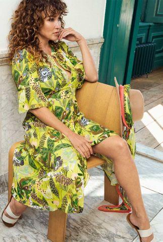 gele jurk met botanische print en ceintuur jungle beats lemon sp6496