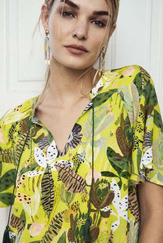 gele top met botanische print jungle beats lemon sp6729
