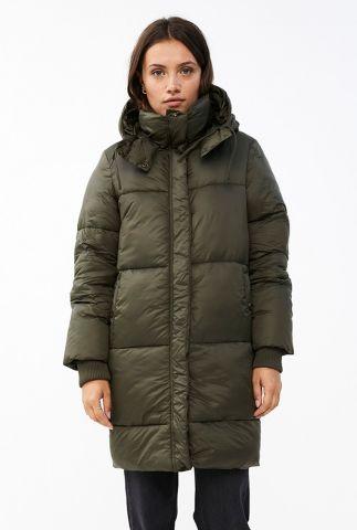 olijf groene half lange gewatteerde jas jackie long coat