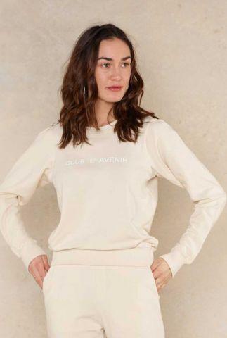 beige sweater met geborduurd wit logo ruby 2052301