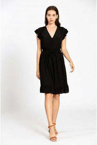 zwarte viscose jurk met v-hals en volants 21121160