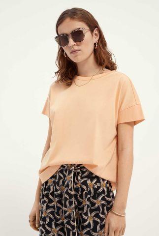 peach kleurig basis t-shirt met ronde hals en korte mouw 161721