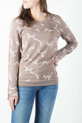 lichtbruine sweater met all-over grafische print 211tally
