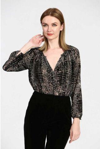 zwarte blouse met fluwelen print 21211032