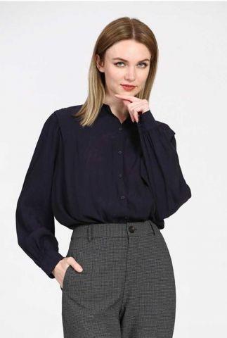 donker blauwe soepel vallende blouse van cupro 21211077