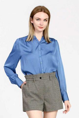 blauwe zijde look blouse 21212860