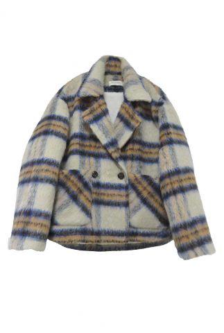 oversized geruite jas met knooplsuiting 21251973