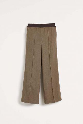 wijde bruine broek met pintuck detail en ruit dessin vick f2029