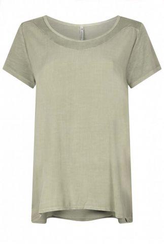 olijfgroen viscose t-shirt met ronde hals en korte mouwen 213keys