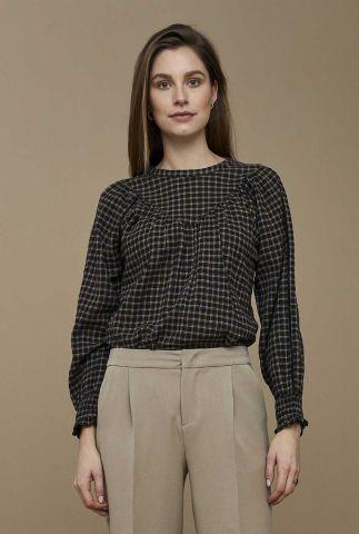 zwart geruite blouse met smock detail bobbie check blouse