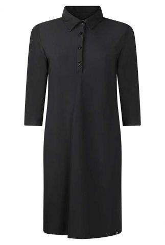 zwarte jurk van travelstof met 3/4 mouwen 215juulz