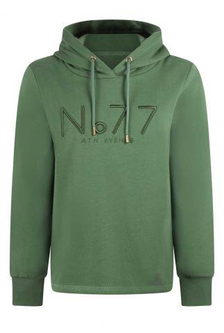 groene sweater met capuchon en geborduurd logo 215patrice