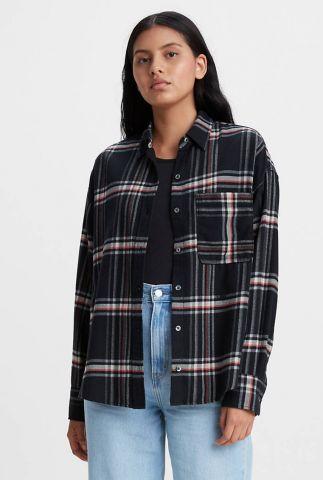 zwarte flanellen blouse met ruiten 22648-0003