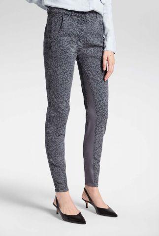 grijze broek met luipaard print en jersey details 24001615