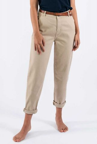 vegan zandkleurige tapered broek lara chino 28086004