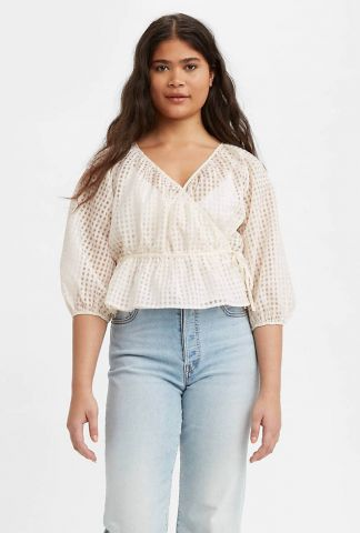 off-white wikkel top met ruit dessin delilah wrap top 29542-0002